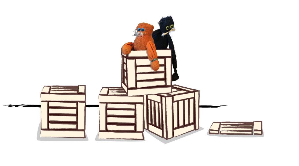 Theater Leeuwenhart - illustratie Nero en Liefje op kistjes