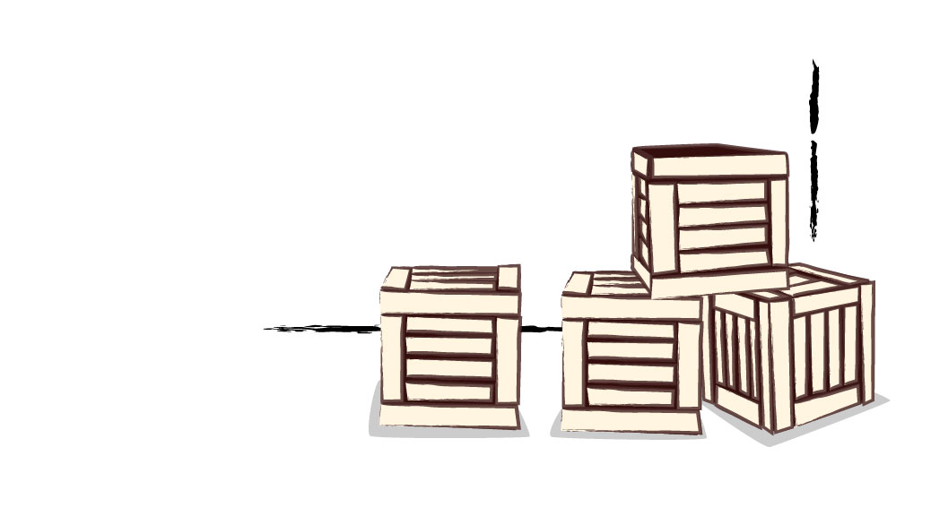 Theater Leeuwenhart - illustratie kistjes
